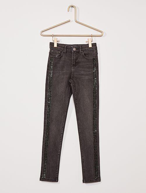Jean skinny bandes strass                                             NOIR