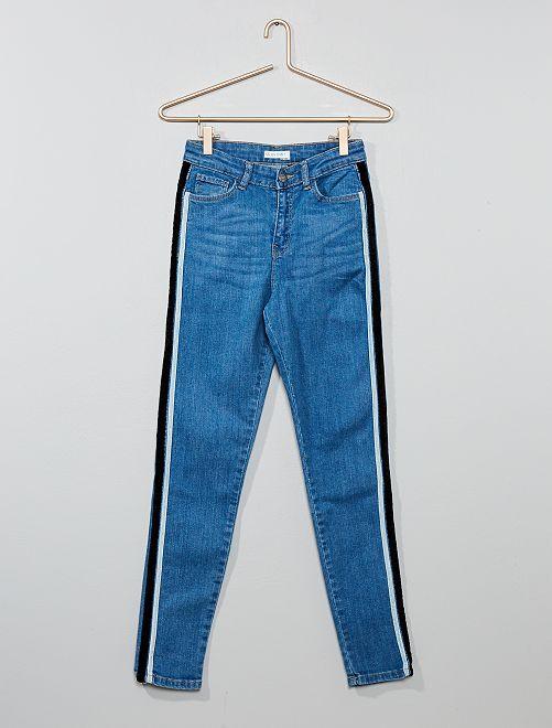 Jean skinny bandes velours                             bleu Fille adolescente