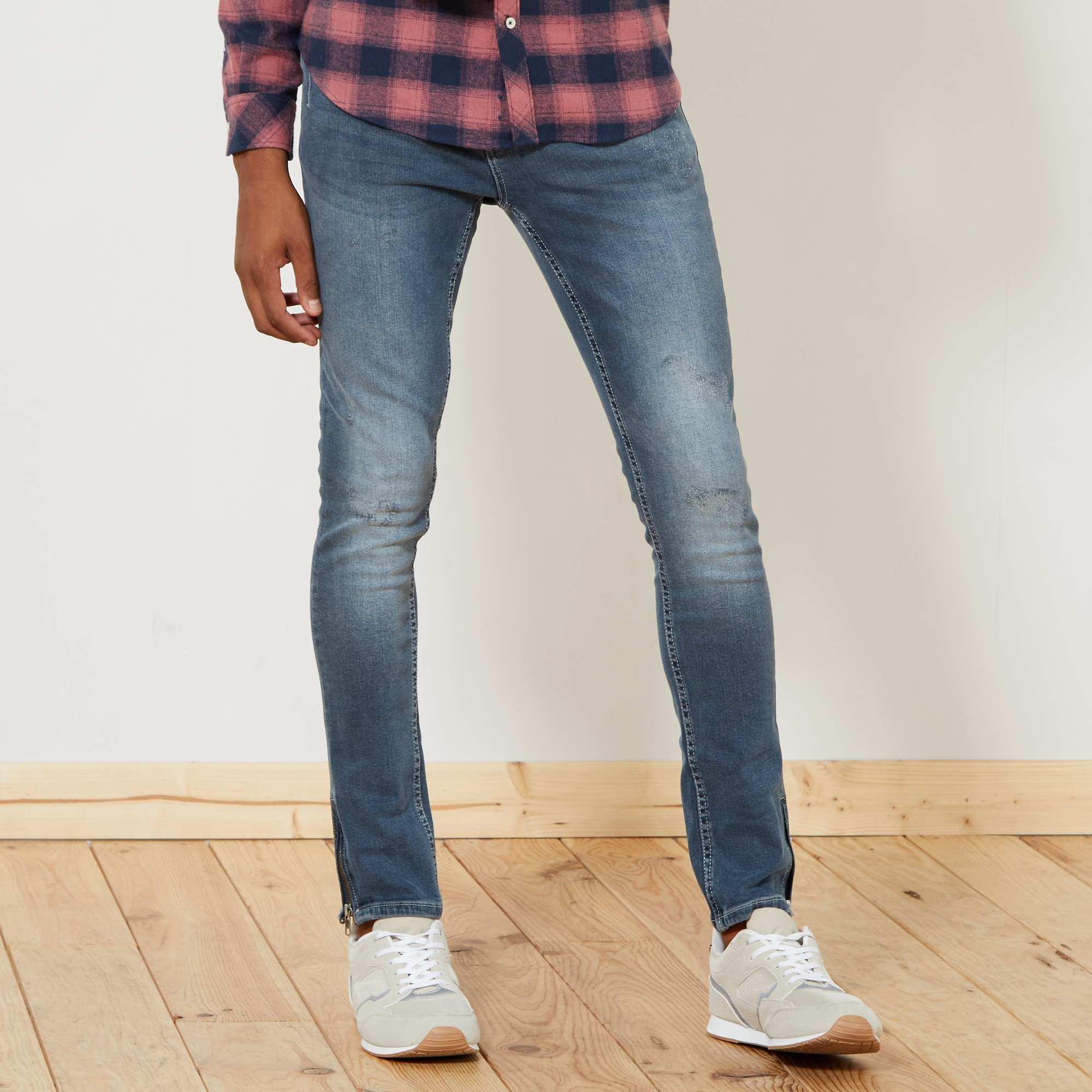 jean skinny bas de jambes zipp s homme bleu gris kiabi. Black Bedroom Furniture Sets. Home Design Ideas