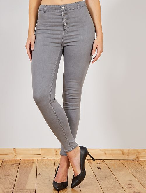Jean skinny braguette boutonnée                                                                 gris Femme