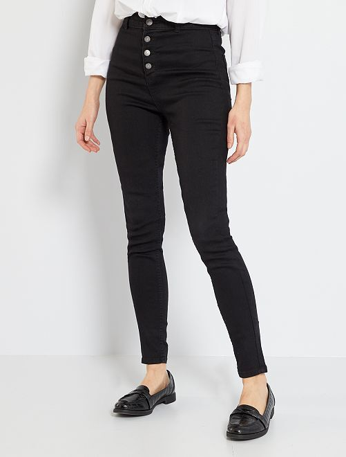 Jean skinny braguette boutonnée                                                                 noir