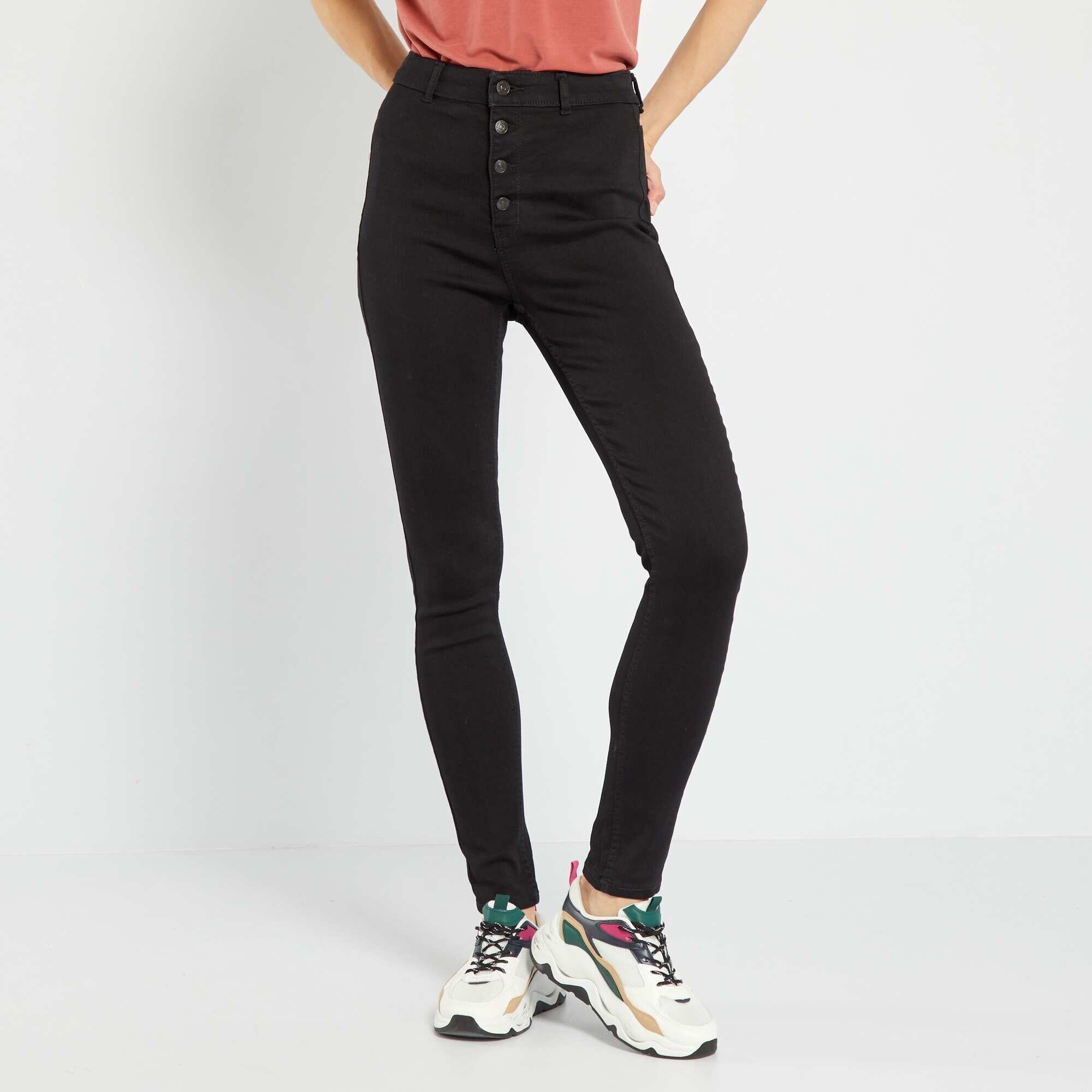 jean skinny braguette boutonn e femme noir kiabi 18 00. Black Bedroom Furniture Sets. Home Design Ideas