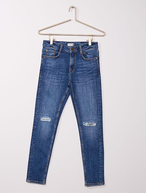 Jean skinny destroy éco-conçu                                         bleu
