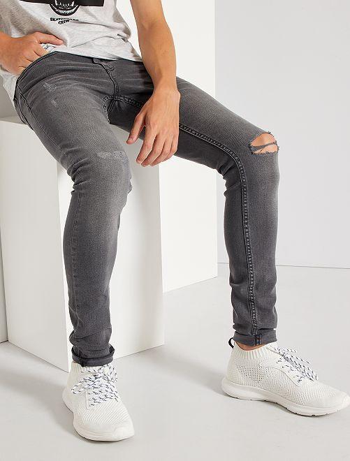 Jean skinny destroy éco-conçu                                                     gris