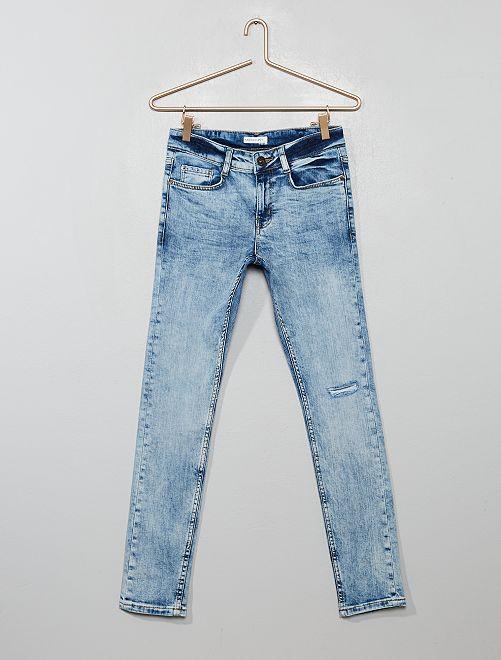 Jean skinny effet neige                             bleu