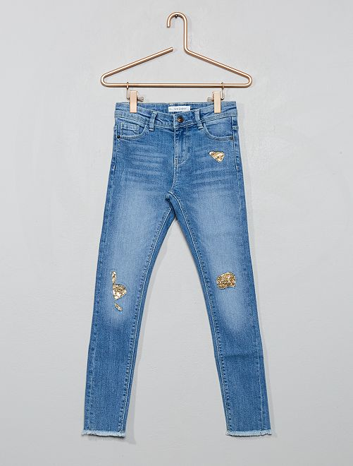 Jean skinny effet usé 'sequins'                                                                 bleu clair