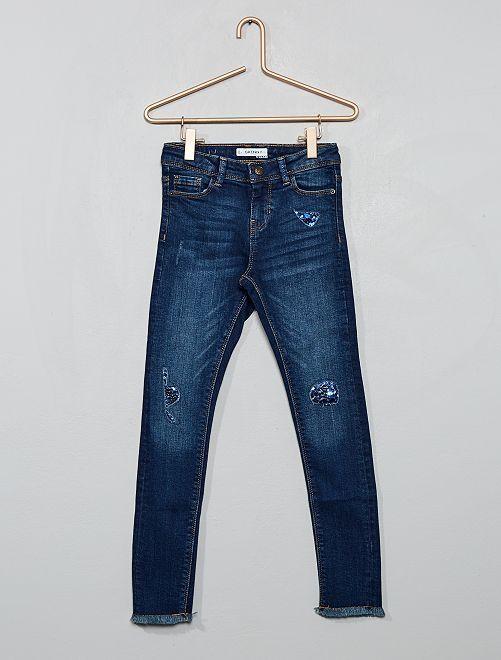 Jean skinny effet usé 'sequins'                                                                 bleu