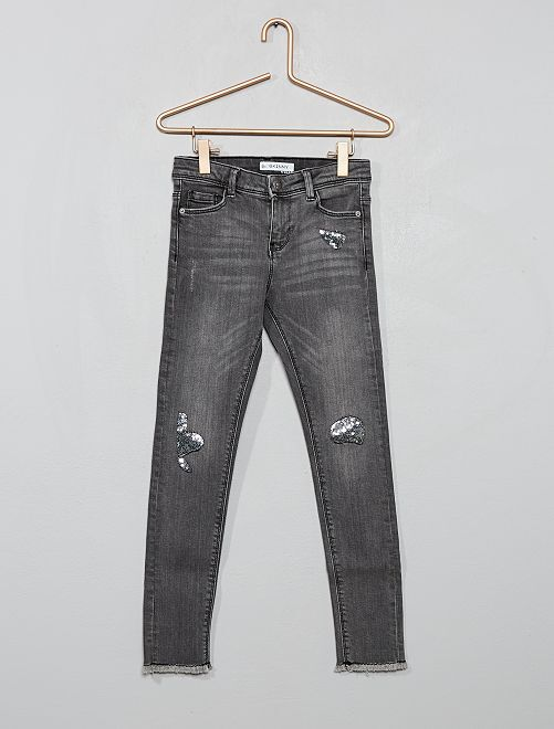 Jean skinny effet usé 'sequins'                                                                 gris