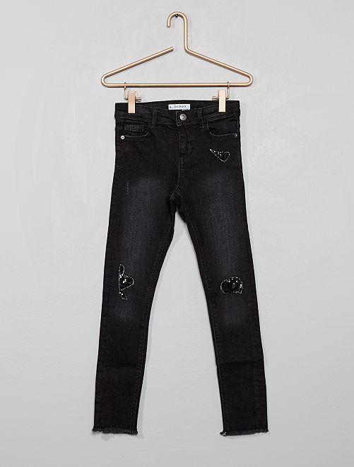 Jean skinny effet usé 'sequins'                                                                 noir