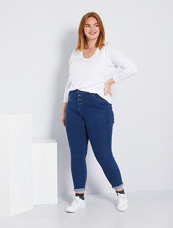 50ec456794a Grande taille femme - Jean skinny en denim stretch taille haute - Kiabi