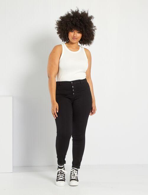 Jean skinny en denim stretch taille haute                                                                 noir