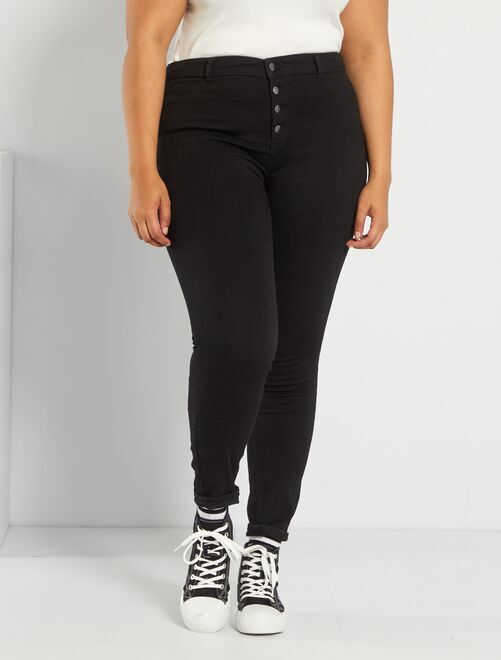 jean skinny en denim stretch taille haute grande taille femme noir kiabi 20 00. Black Bedroom Furniture Sets. Home Design Ideas