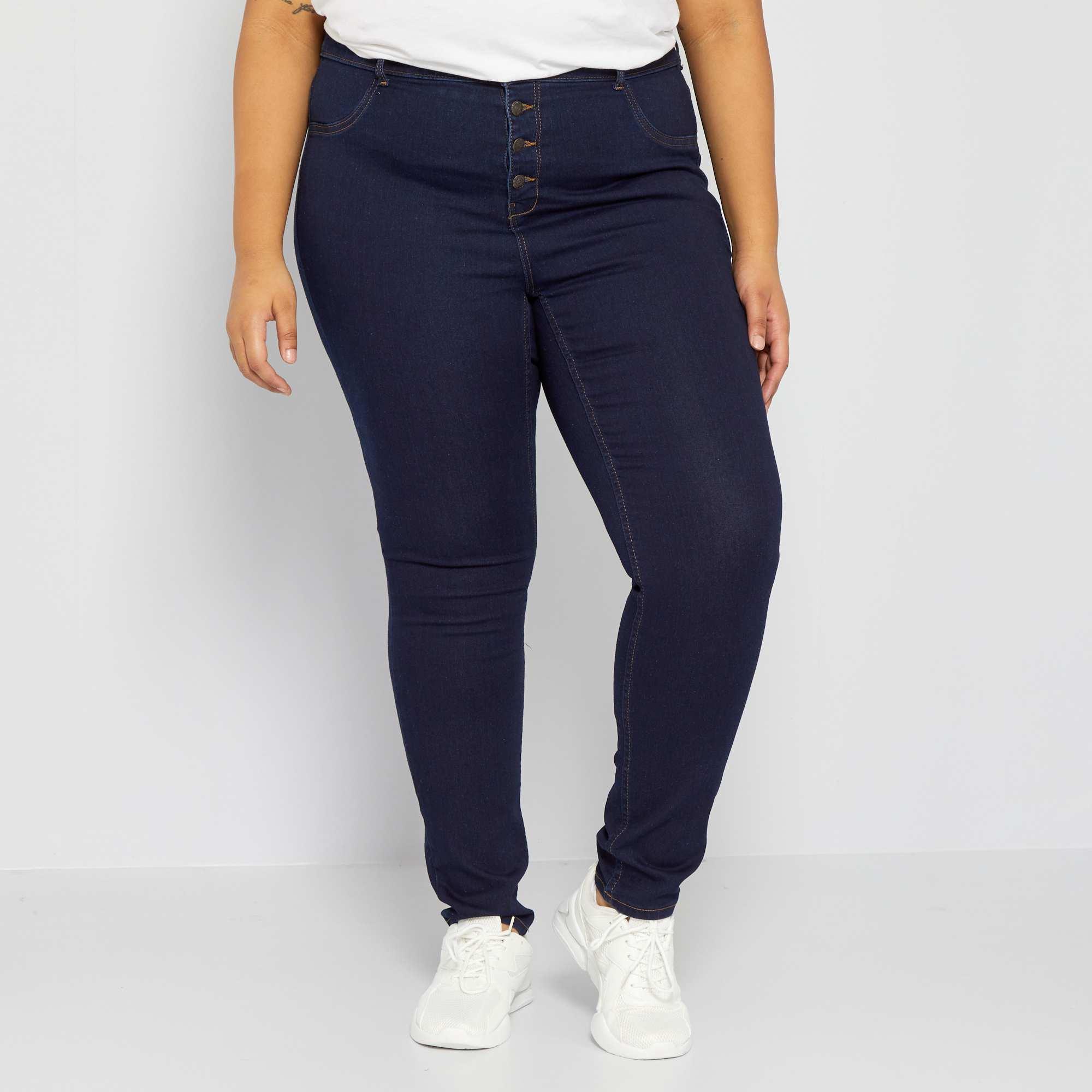 jean skinny en denim stretch taille haute grande taille femme rinse kiabi 20 00. Black Bedroom Furniture Sets. Home Design Ideas