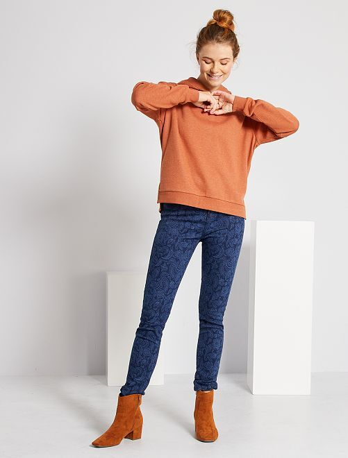 Jean skinny imprimé                             bleu cachemire