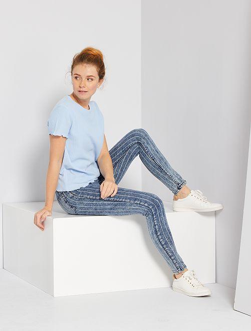 Jean skinny imprimé                                         bleu rayé