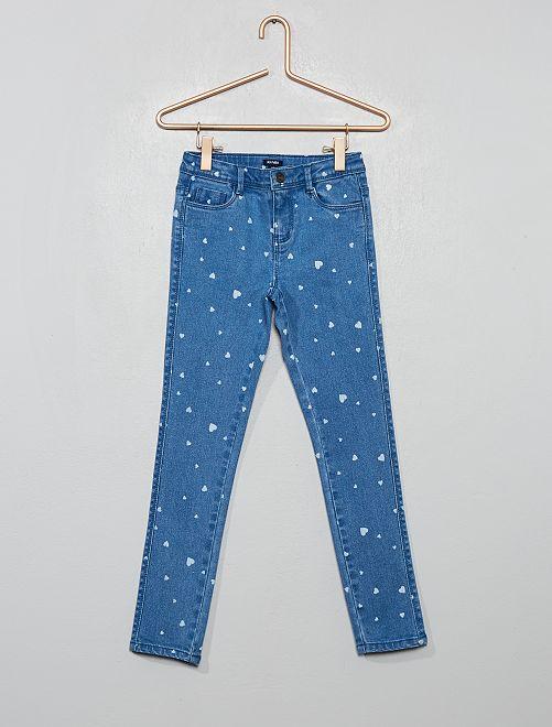 Jean skinny imprimé                                         bleu/cœur
