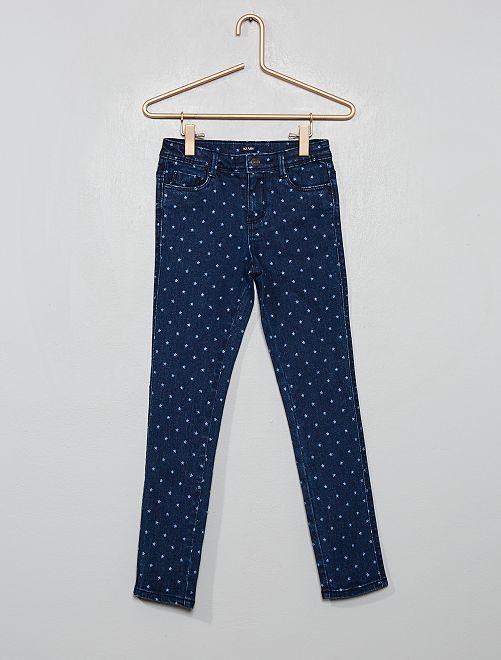 Jean skinny imprimé                                         bleu/étoiles
