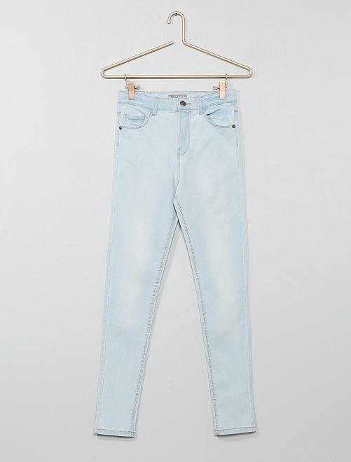 Jean skinny taille haute                                                                             bleu clair Fille adolescente