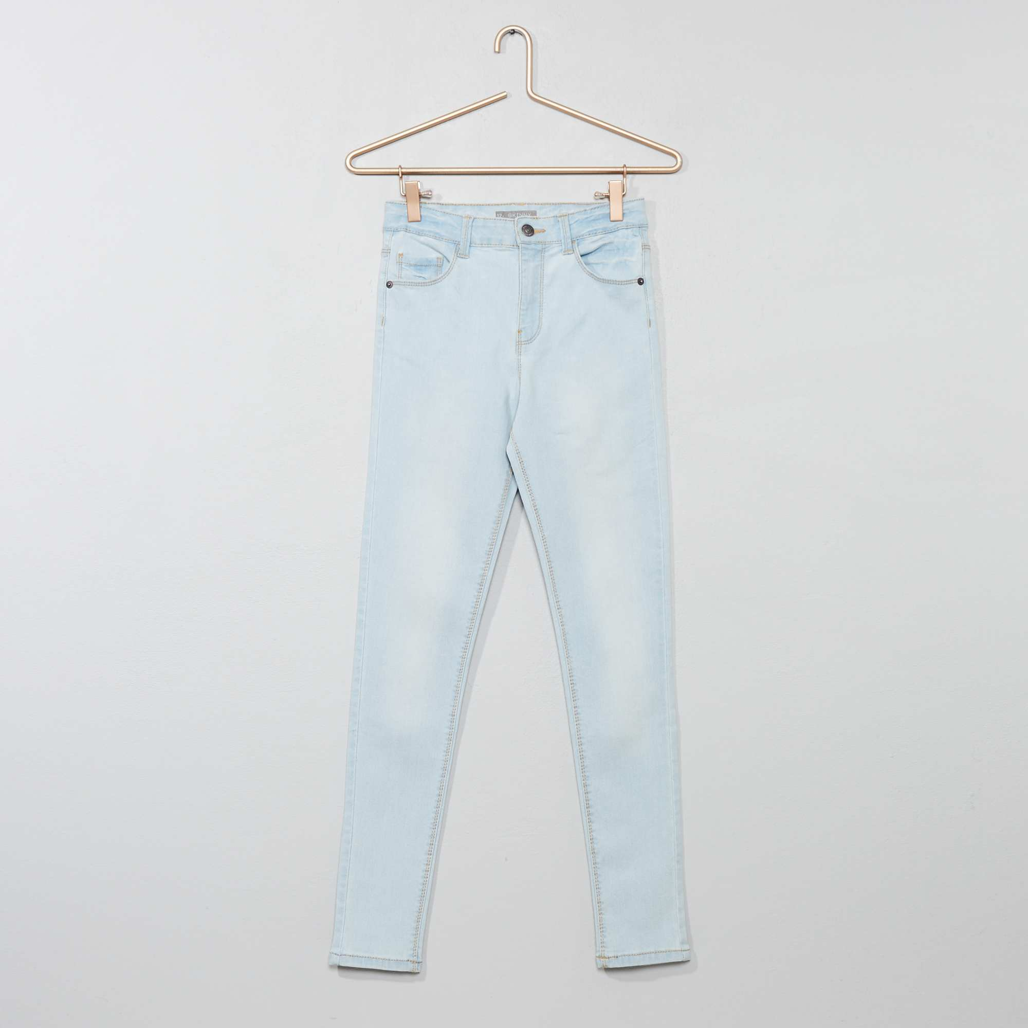 official photos d4957 aaced Jean skinny taille haute bleu clair Fille adolescente. Loading zoom