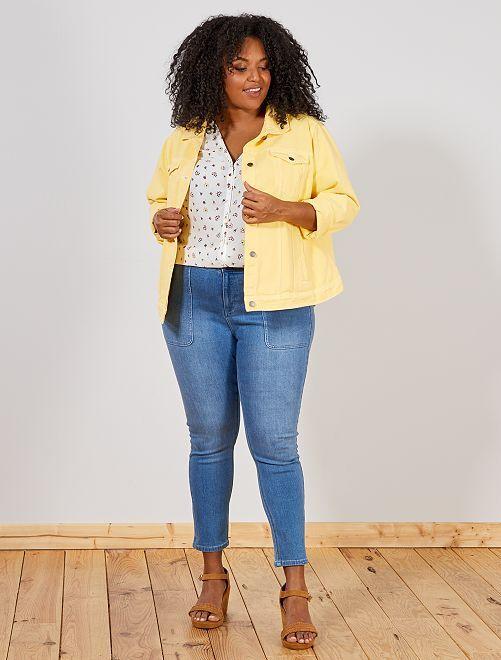 jean skinny taille haute grande taille femme bleu denim. Black Bedroom Furniture Sets. Home Design Ideas