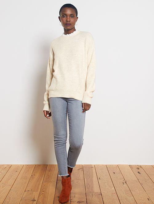 Jean skinny taille haute bords frangés                             bleu
