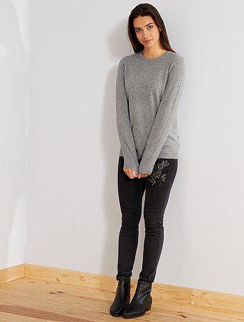 Jean skinny taille haute brodé - Kiabi