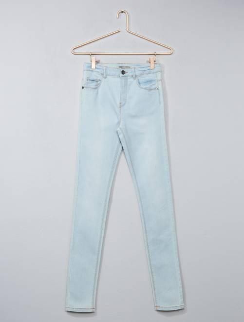 Jean skinny taille haute                                                                                          denim bleached Fille adolescente
