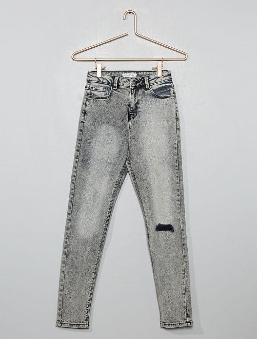 Jean skinny taille haute destroy                                                     gris