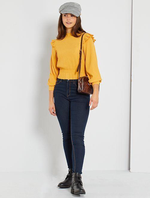 Jean skinny taille haute éco-conçu                                                                                                     denim brut