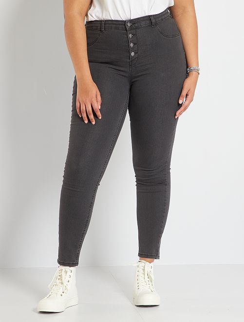 Jean skinny taille haute éco-conçu                                                                             gris