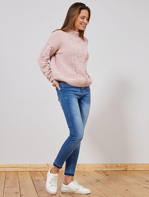 Jean skinny taille haute finition à cru                             stone Femme