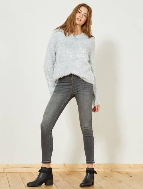 Jean skinny taille haute                             gris Femme