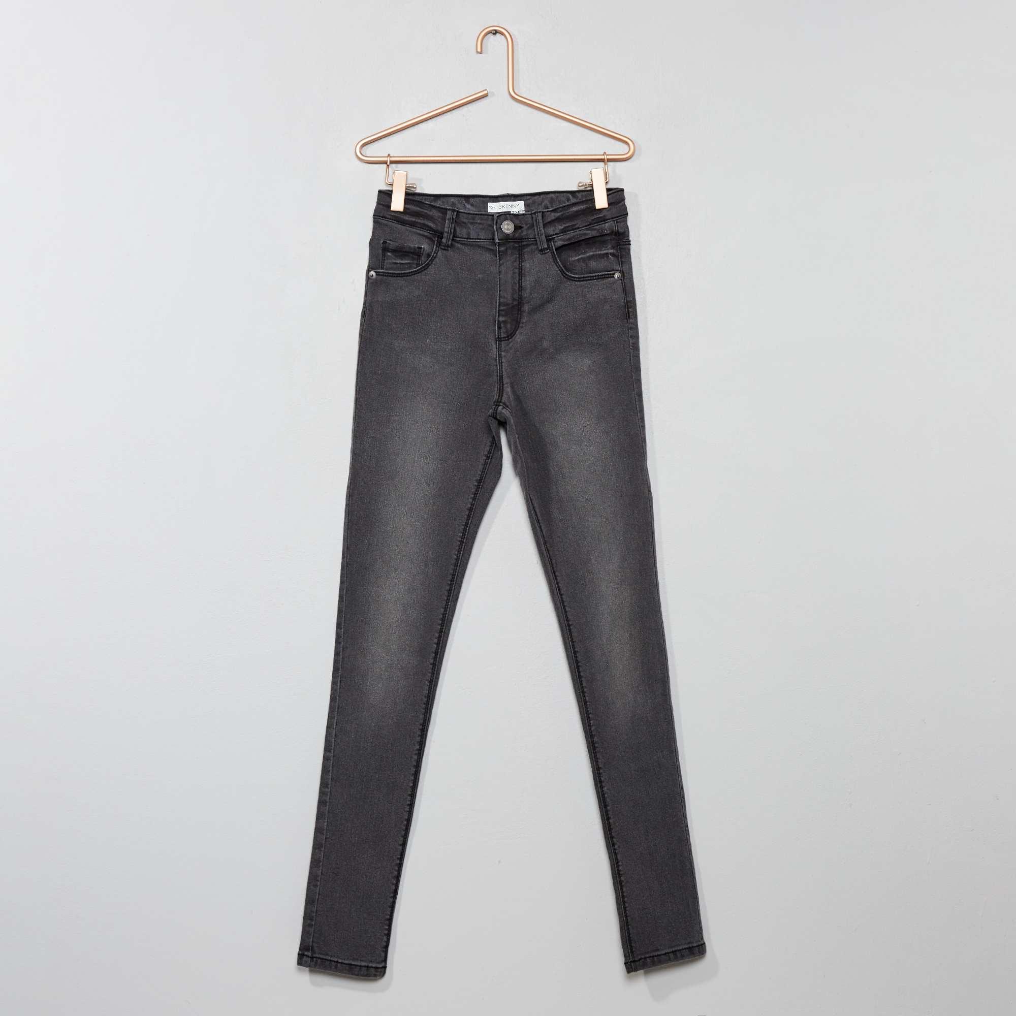 564b36ca4a Jean skinny taille haute Fille adolescente - gris foncé - Kiabi - 9,00€