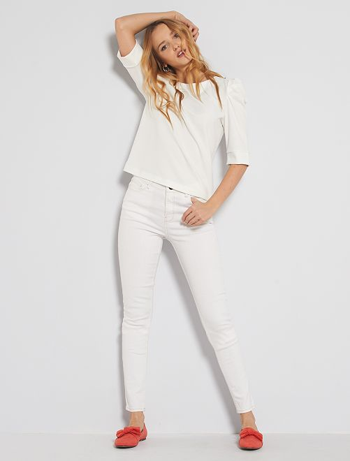 Jean skinny taille haute longeur US34 éco-conçu                                                                 blanc
