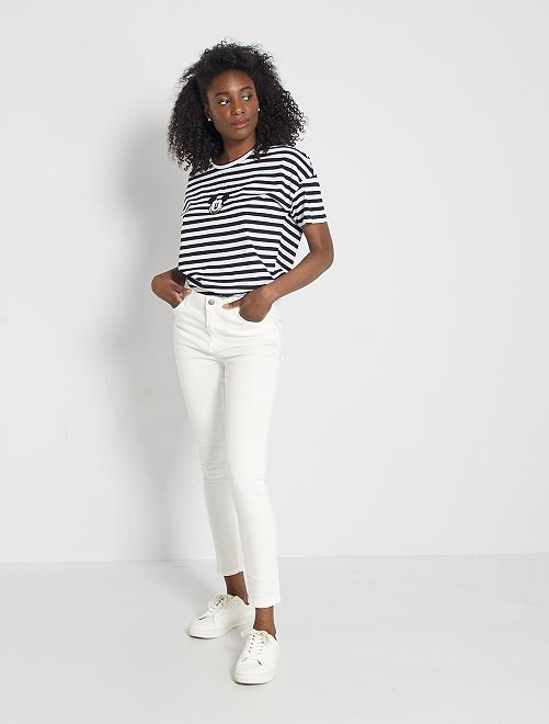 Jean skinny taille haute longueur 28 éco-conçu                                                     blanc