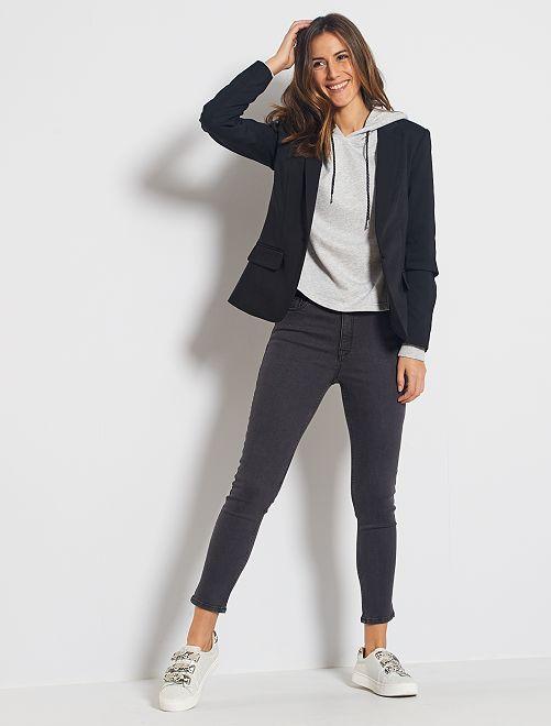 Jean skinny taille haute longueur 28 éco-conçu                                                                 gris