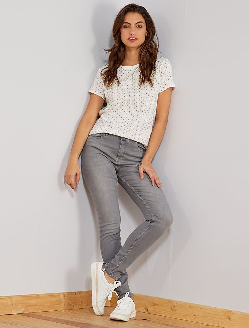 Jean skinny taille haute longueur US 30                                                                             gris Femme