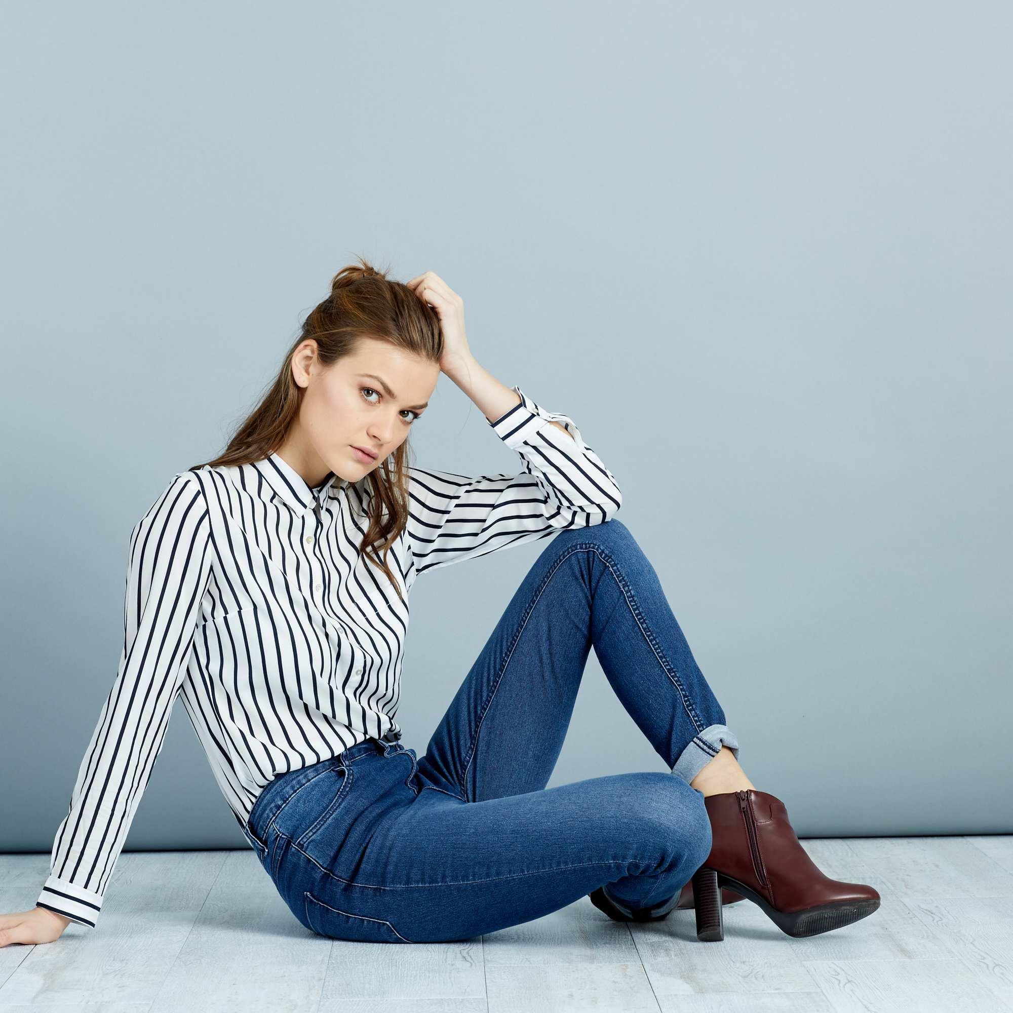 jean skinny taille haute longueur us 32 femme kiabi 15 00. Black Bedroom Furniture Sets. Home Design Ideas