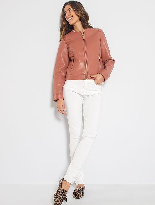Jean skinny taille haute longueur US 32 éco-conçu                                                                 blanc