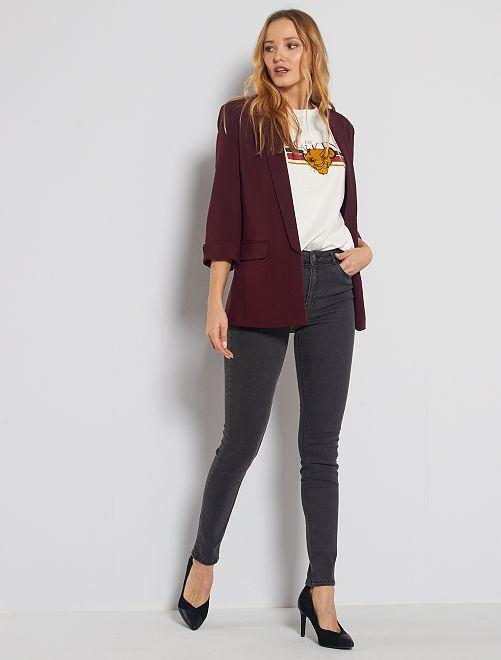 Jean skinny taille haute longueur US 32 éco-conçu                                                                 gris