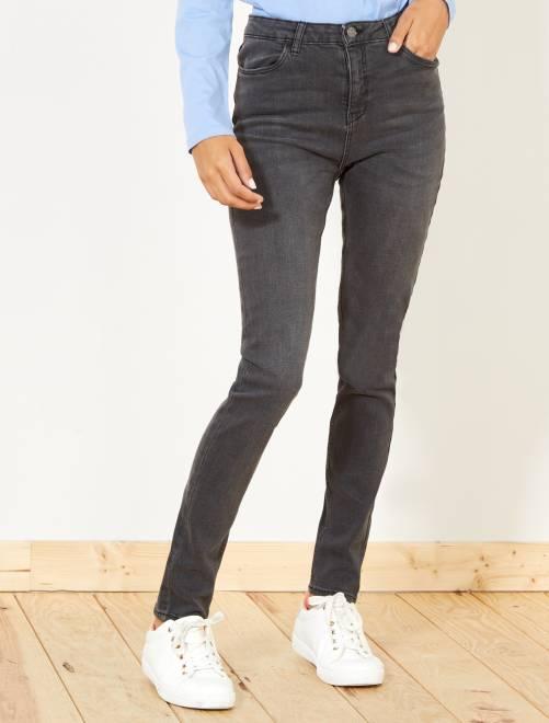 Jean skinny taille haute longueur US 32                     gris foncé
