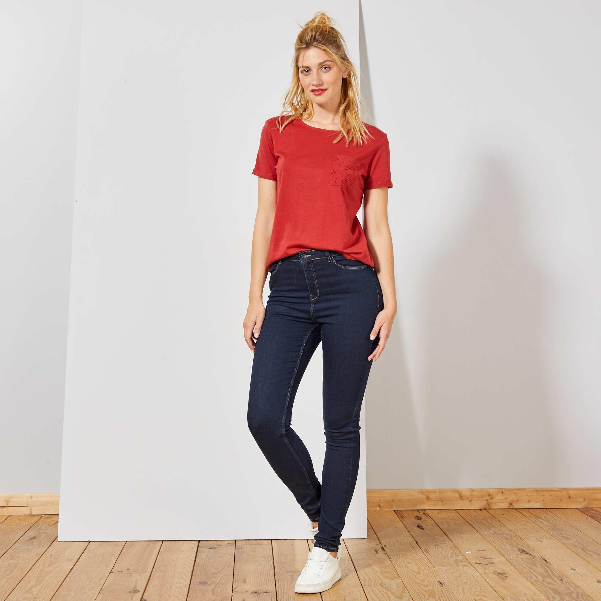 jean skinny taille haute longueur us 34 femme bleu brut. Black Bedroom Furniture Sets. Home Design Ideas