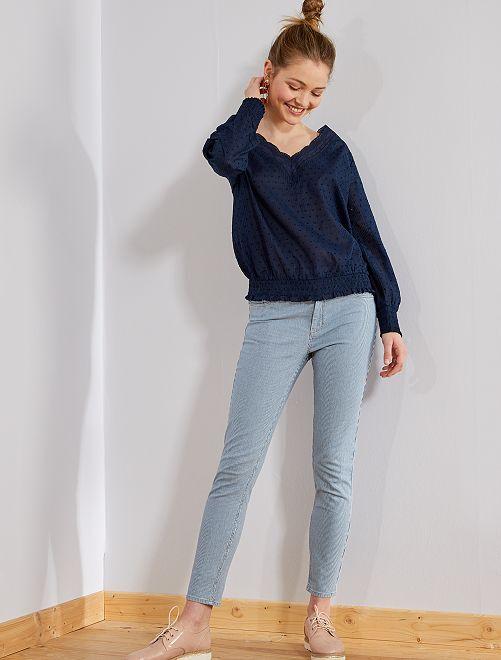 Jean skinny taille haute rayé                             bleu Femme