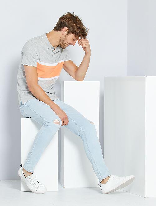 Jean skinny usures placées                             bleu
