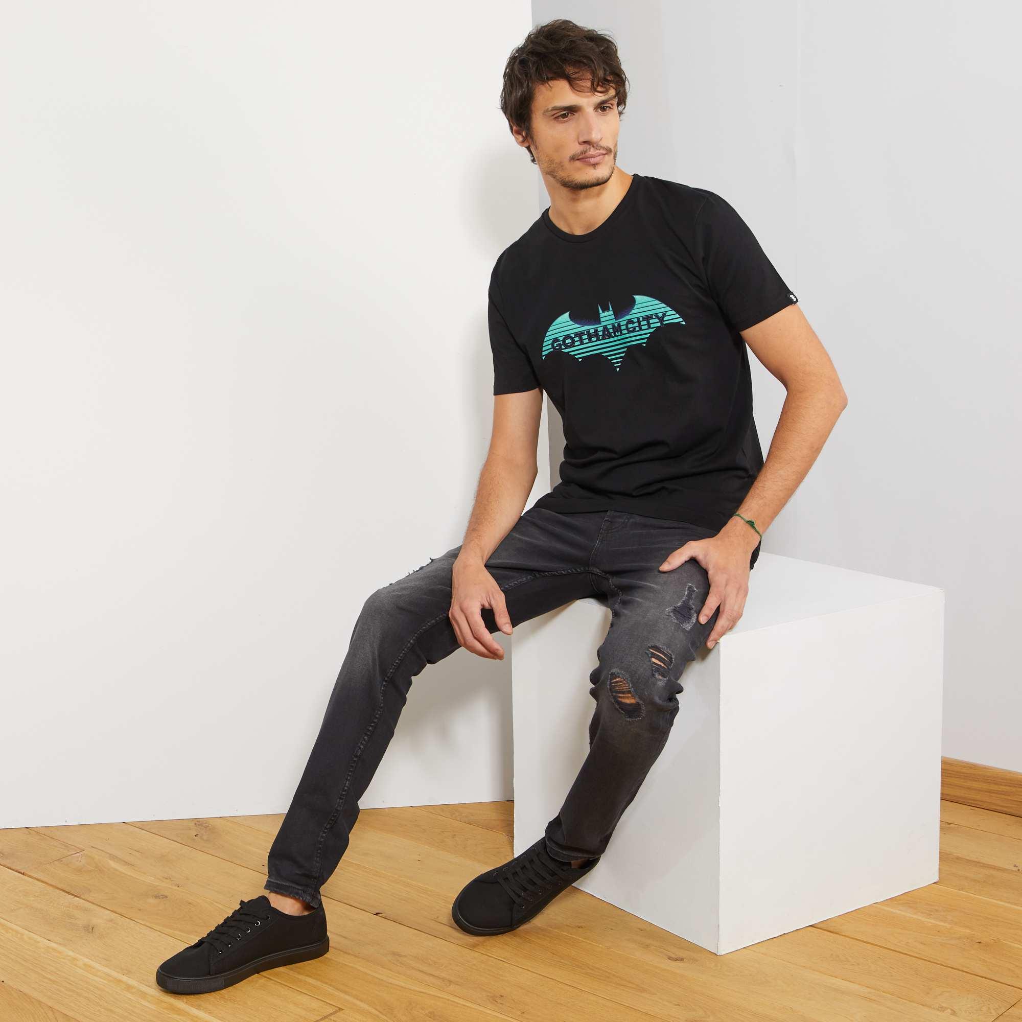 jean slim abrasions homme gris fonc kiabi 25 00. Black Bedroom Furniture Sets. Home Design Ideas
