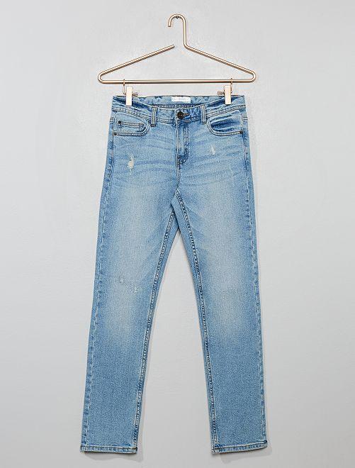 Jean slim en coton stretch                     bleu délavé