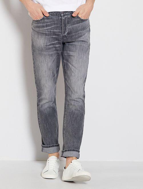 Jean slim pur coton L32                             gris