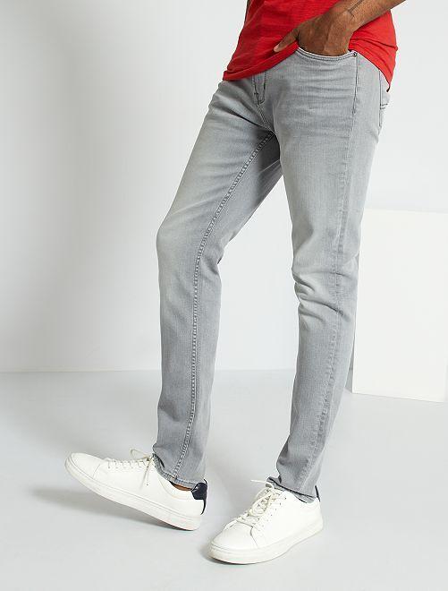 Jean slim stretch homme gris clair kiabi 15 00 - Jean gris clair homme ...