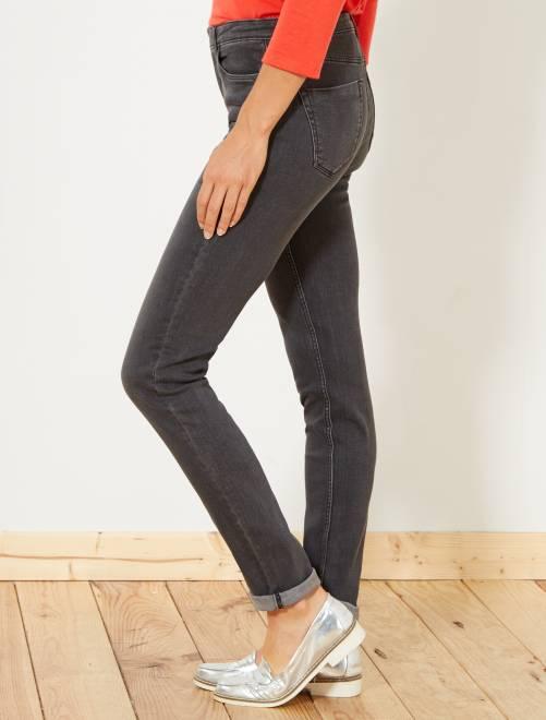Jean slim super taille haute - Longueur US32                                                                             gris foncé Femme