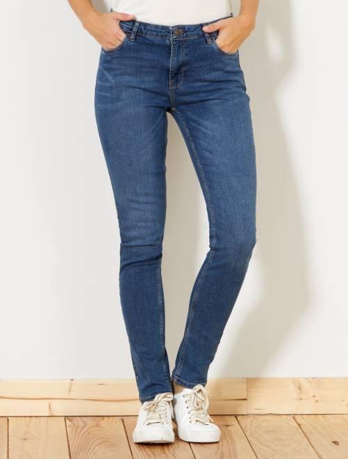 jean slim taille haute longueur us 30 femme brut kiabi 15 00. Black Bedroom Furniture Sets. Home Design Ideas